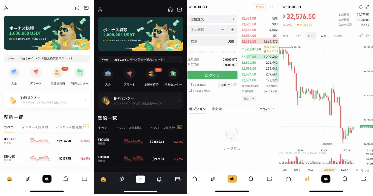 bybitのスマホアプリ